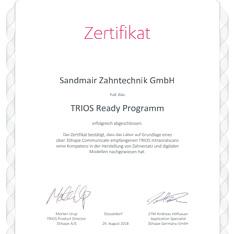 Sandmair Zahntechnik GmbH 3Shape TRIOS Ready Programm Zertifikat