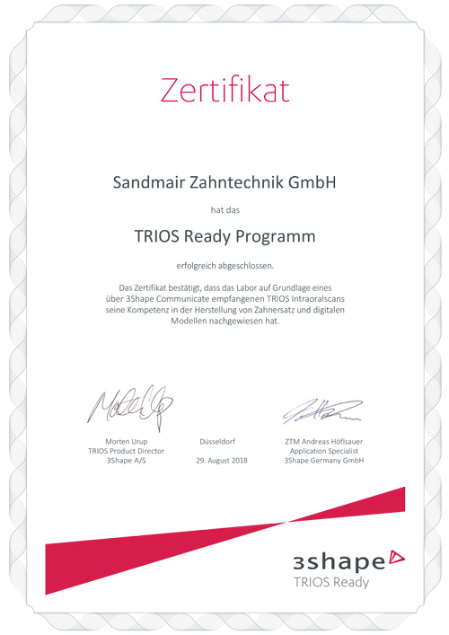 Sandmair Zahntechnik GmbH 3Shape TRIOS Ready Zertifikat