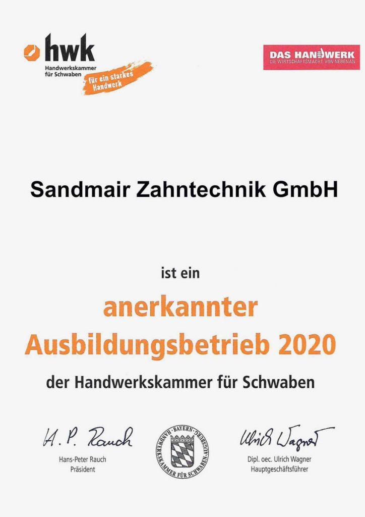 Anerkannter Ausbildungsbetrieb 2020 der HWK Schwaben