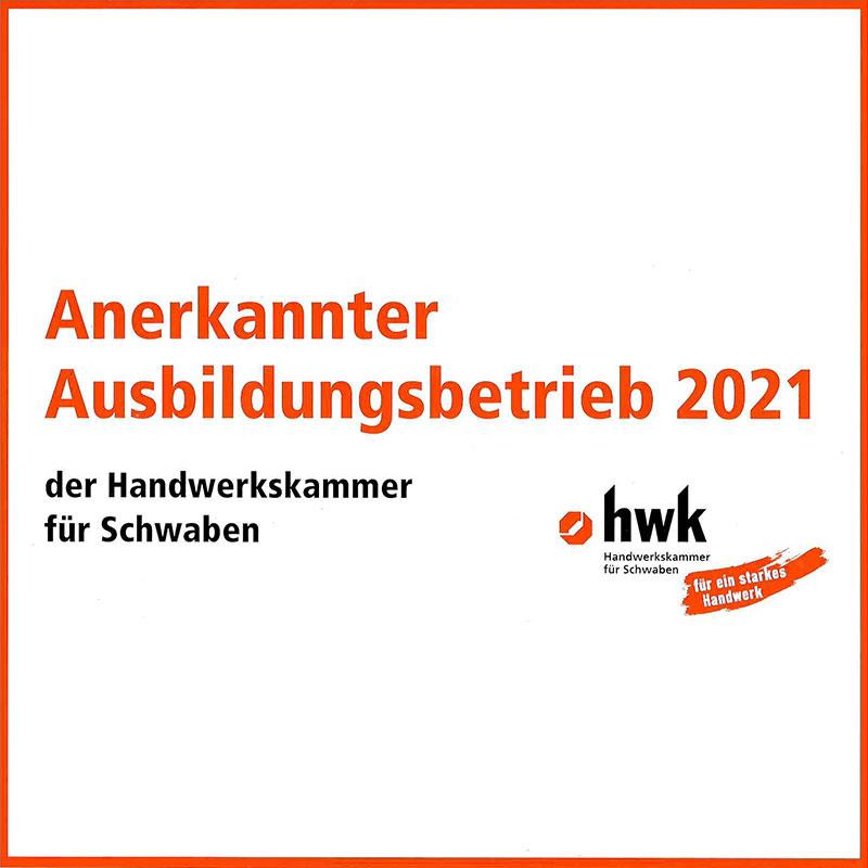 Anerkannter Ausbildungsbetrieb 2021 der HWK Augsburg